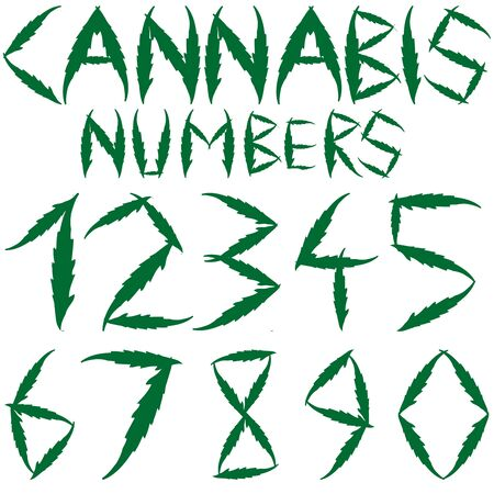 cannabis numbers against white background, abstract art illustration