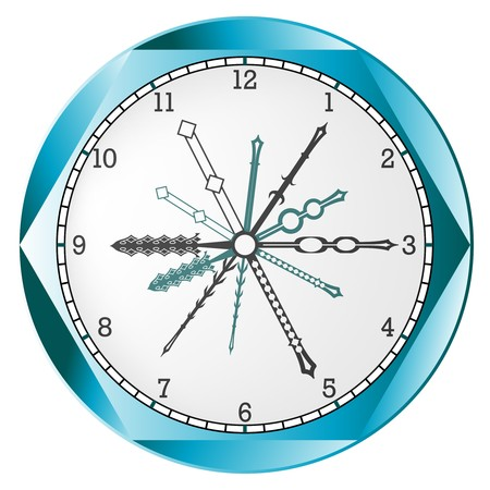 clock abstract, isolated on white background, art illustration