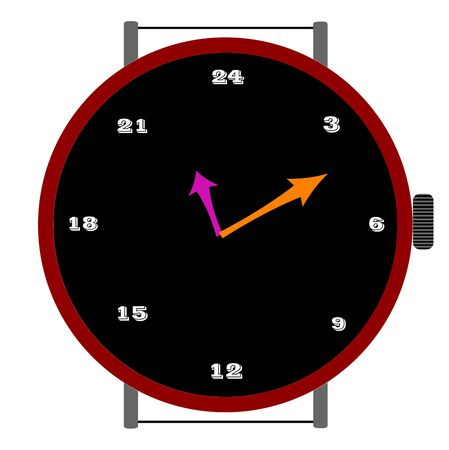 ours: clock with 24 ours, art illustration