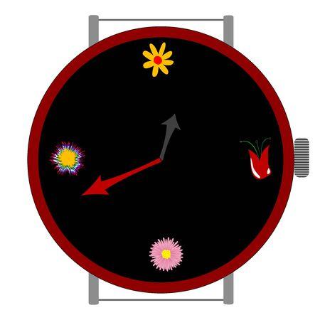 clock with flowers, art illustration illustration