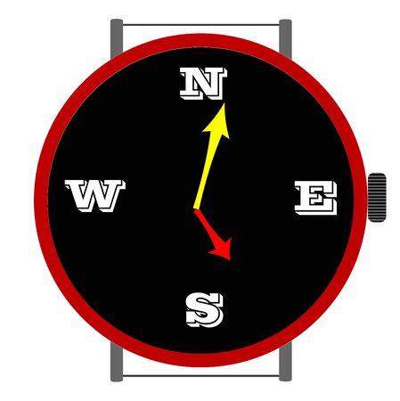 clock with orientation, art illustration illustration