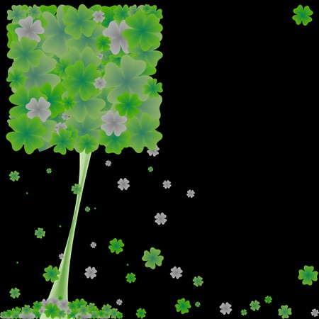 clover tree, abstract art illustration