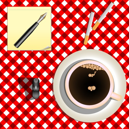 coffee and cigarettes against red picnic mesh, abstract art illustration Stock Illustration - 7325488