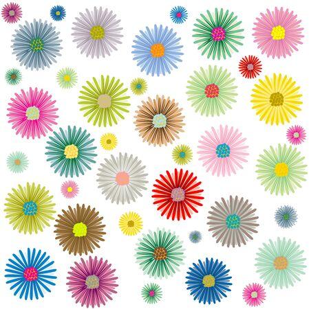 colored flowers pattern isolated on white background, art illustration Stock Illustration - 7325721