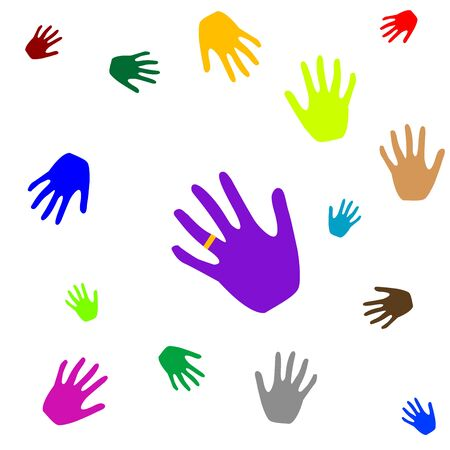 colored hands isolated on white, abstract art illustration