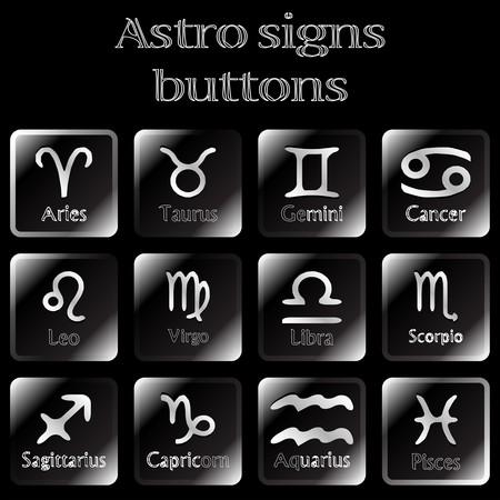 dark astro sign buttons, abstract art illustration illustration