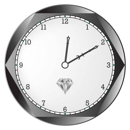 diamond clock against white background, abstract art illustration Stock Photo