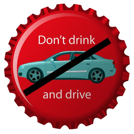 don't: dont drink and drive concept, isolated object over white background, abstract art illustration