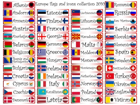 europe flags and icons complete collection against white background, abstract art illustration Stock Illustration - 7325722