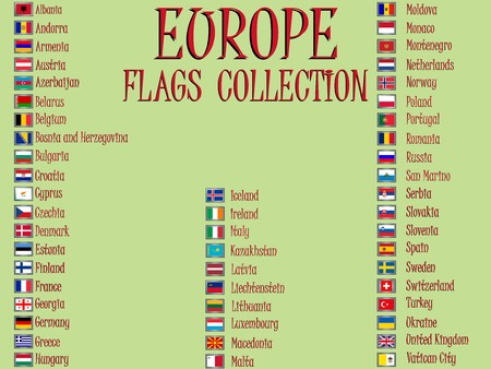 europe flags collection against green background, abstract art illustration illustration