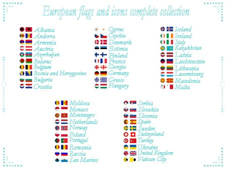 alphabetical order: european flags and icons collection in alphabetical order, abstract art illustration Stock Photo