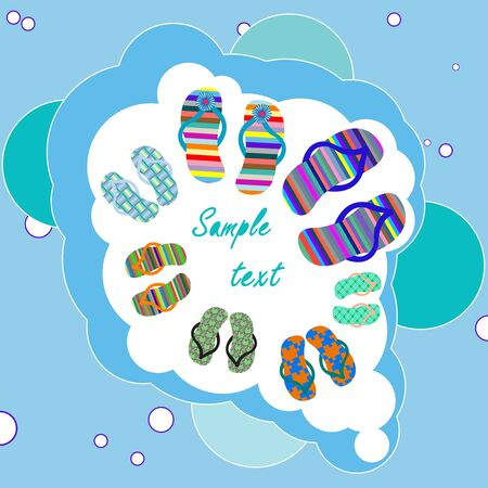 family beach shoes composition with bubbles background, abstract art illustration Stock Illustration - 7324490