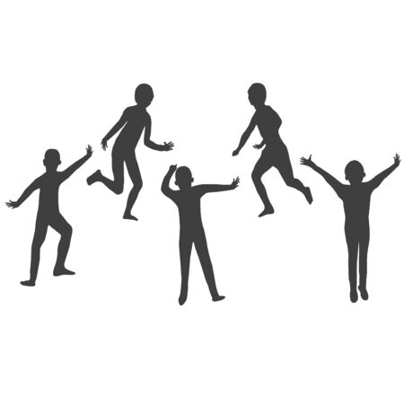 five kids silhouette isolated on white bacground
