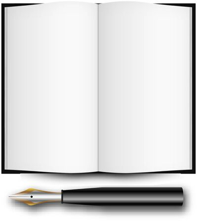fountain ink pen and open book over white background, abstract art illustration Stock Illustration - 7323747