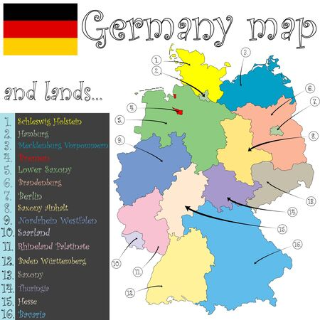 germany map and lands against white background, abstract art illustration