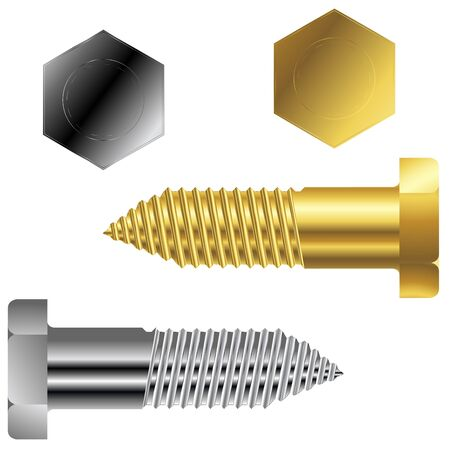 gold and silver screws, abstract art illustration Stock Illustration - 7325029