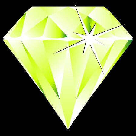 green diamond against black background, abstract art illustration