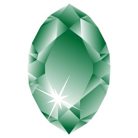 groene diamant tegen witte achtergrond, abstracte kunstillustratie