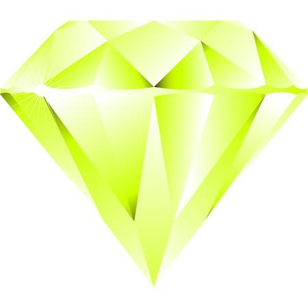 green diamond isolated on white background, abstract art illustration Фото со стока