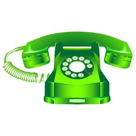 green retro telephone against white background, abstract art illustration Stock Illustration - 7322390