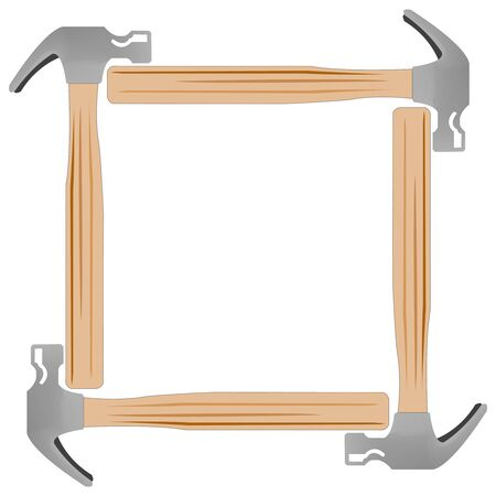 building inspector: hammer photo frame against white background, abstract art illustration