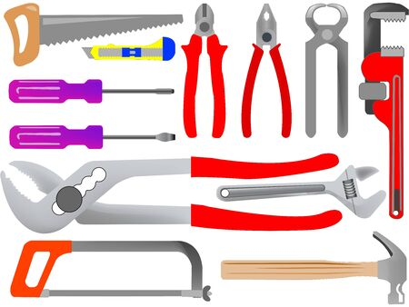 press nuts: hand tools isolated on white background, abstract art illustration