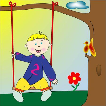 happy boy playing, art illustration illustration