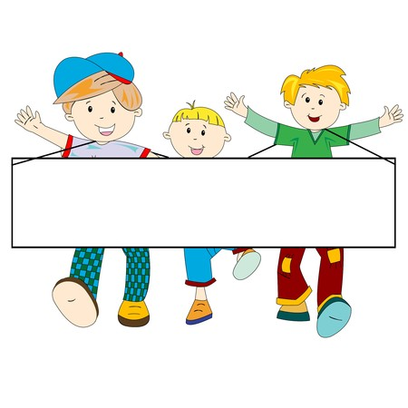 happy kids cartoon with blank banner against white background, abstract art illustration