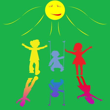 happy little children playing on sunny background, abstract art illustration illustration