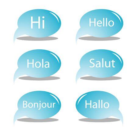 hello text bubbles, art illustration Stock Illustration - 7323662