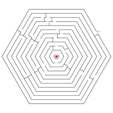 hexagonal black maze; abstract art illustration Stock Illustration - 7325055
