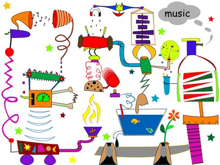 music machine: incredible music machine, art illustration