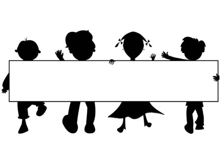 kids silhouettes banner against white background, abstract  art illustration