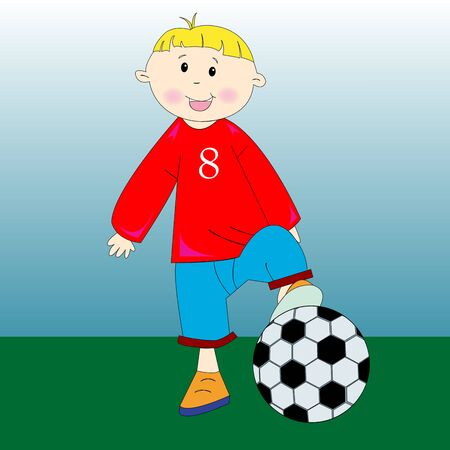 little football player, art illustration illustration
