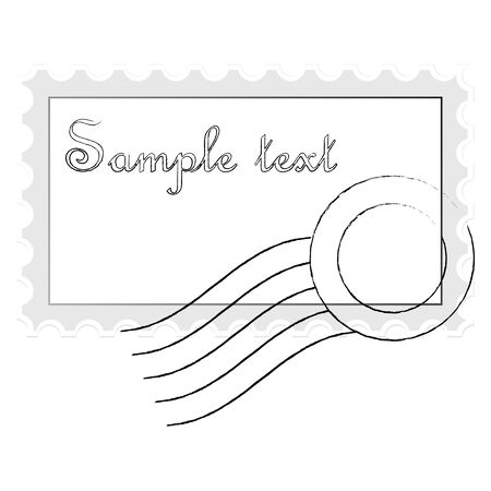 mail stamp isolated on white background, abstract art illustration Stock Illustration - 7322617