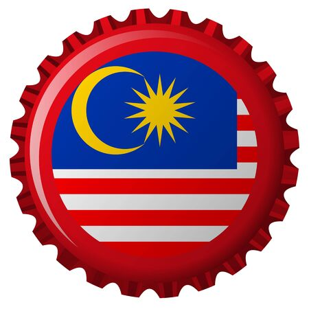 malaysia abstract flag on bottle cap isolated on white background, abstract art illustration