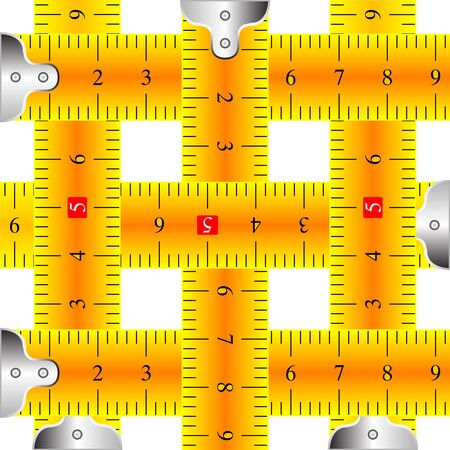 measuring tapes mesh against white background, abstract art illustration illustration