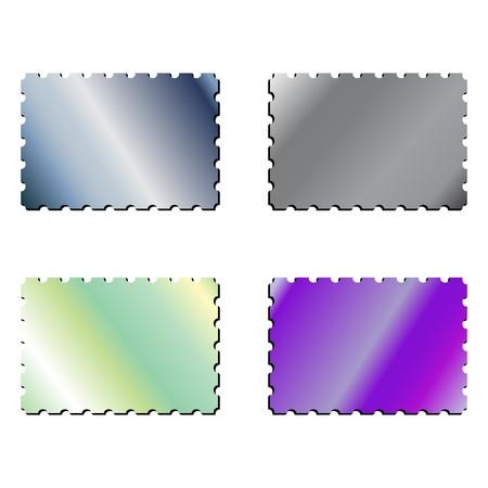 tehnology: metallic postage stamps, abstract art illustration Stock Photo