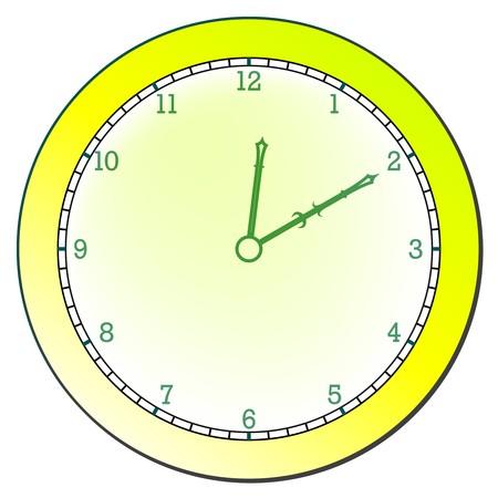 modern clock against white background, abstract art illustration
