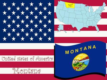 montana state illustration, abstract art