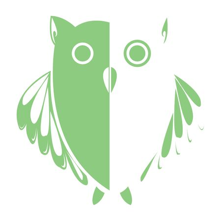 stylized owl (green), art illustration