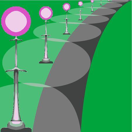 park alley, art illustration Stock Illustration - 7323590