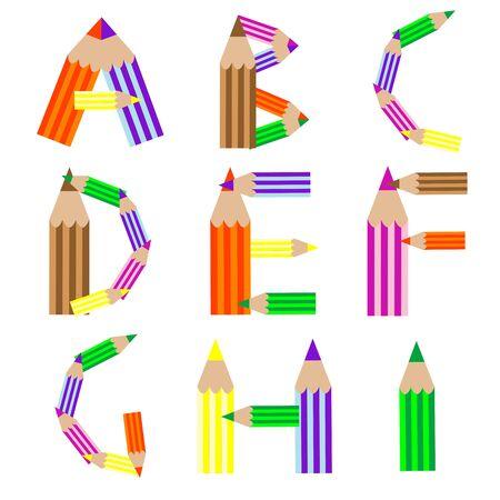 pencils alphabet, art illustration illustration