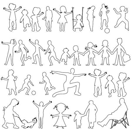 peoples black sketch, abstract art illustration illustration
