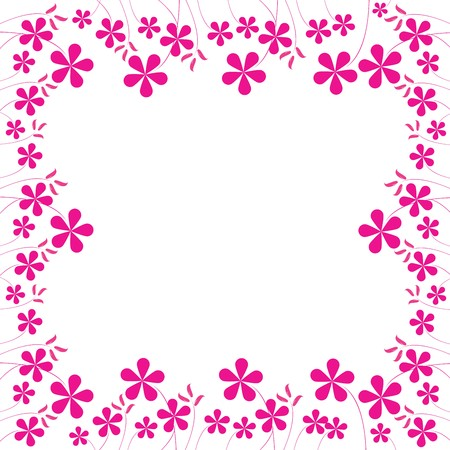 pink flowers foliage with space for your text, art illustration, easy to change colors.