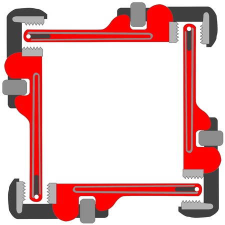 press nuts: pipe wrench photo frame, art illustration
