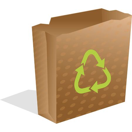 recycling paper bag isolated on white, abstract art illustration
