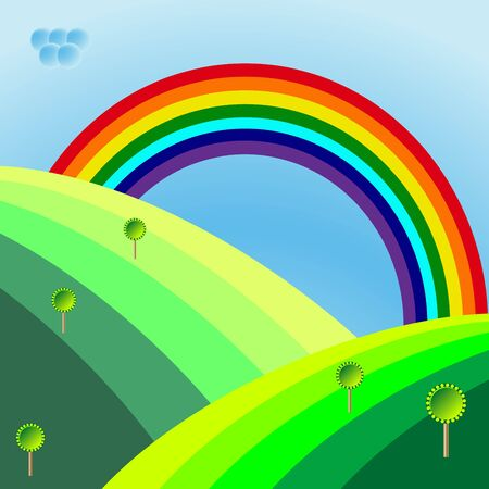 retro landscape with trees and rainbow, abstract art illustration Stock Illustration - 7323823