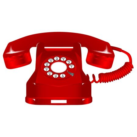 retro red telephone against white background, abstract art illustration Stock Illustration - 7322317