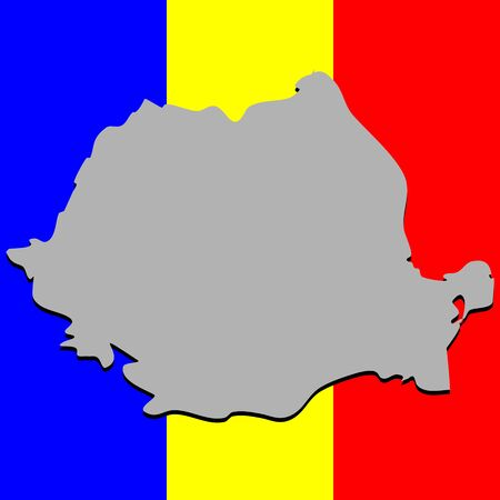 romanian: romanian map over national colors, abstract art illustration